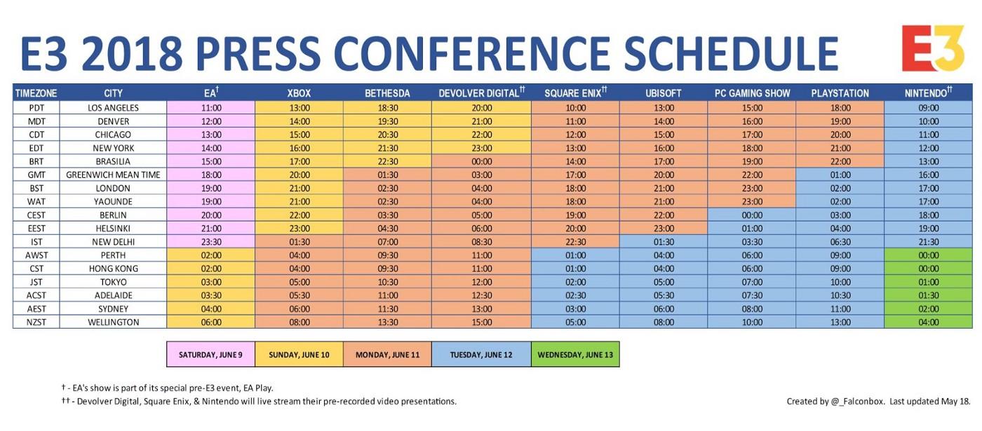 The E3 2018 Schedule