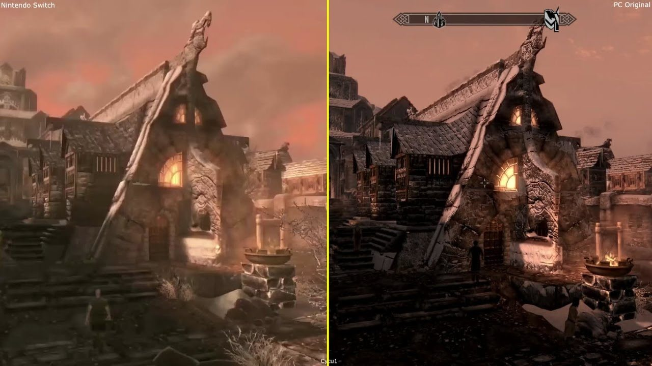 The Elder Scrolls V: Skyrim on Switch vs. PC (Image: Digital Foundry)