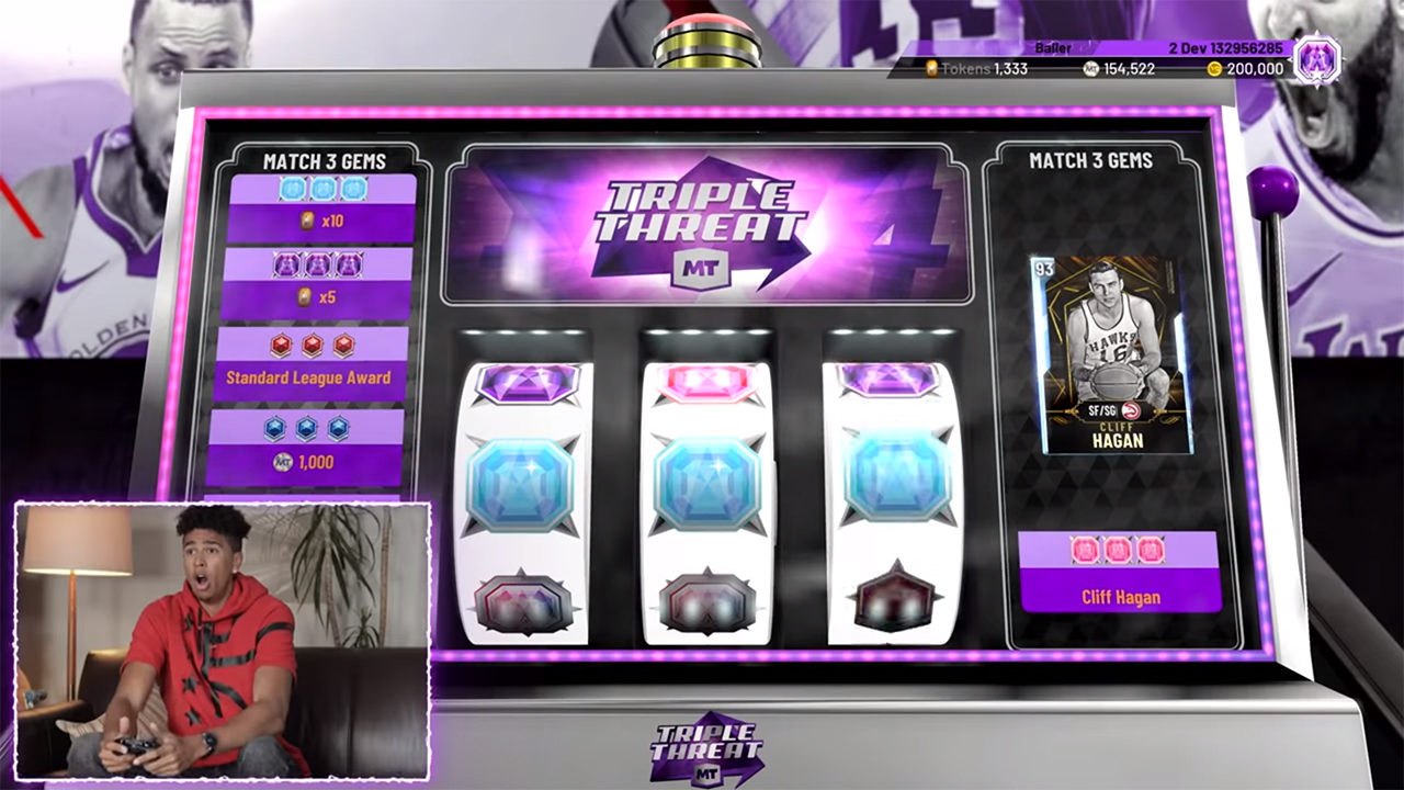 Slot machines in NBA 2K20's MyTEAM trailer.