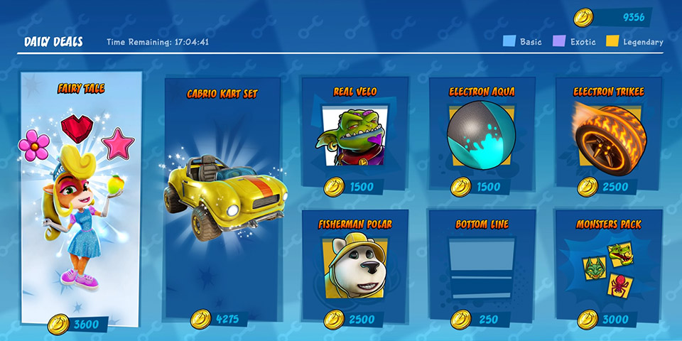Microtransactions screen in Crash Team Racing: Nitro-Fueled.
