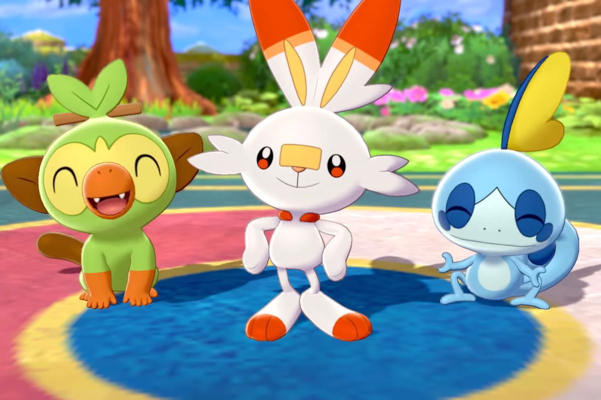 The three starter Pokémon from Pokémon Sword & Shield.
