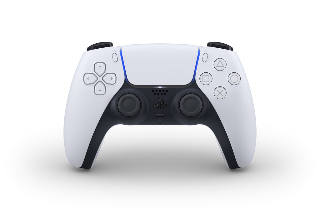 A front-on view of the PlayStation 5's DualSense controller.