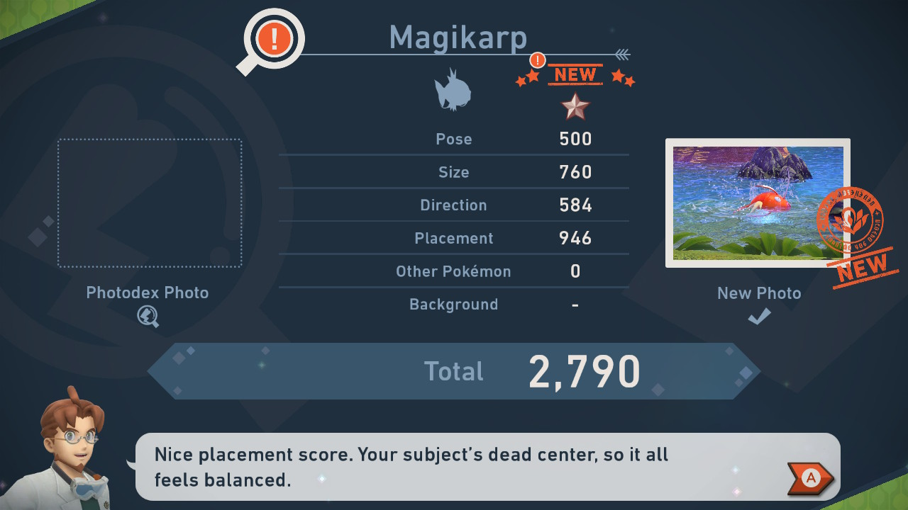 New Pokémon Snap review menu screenshot