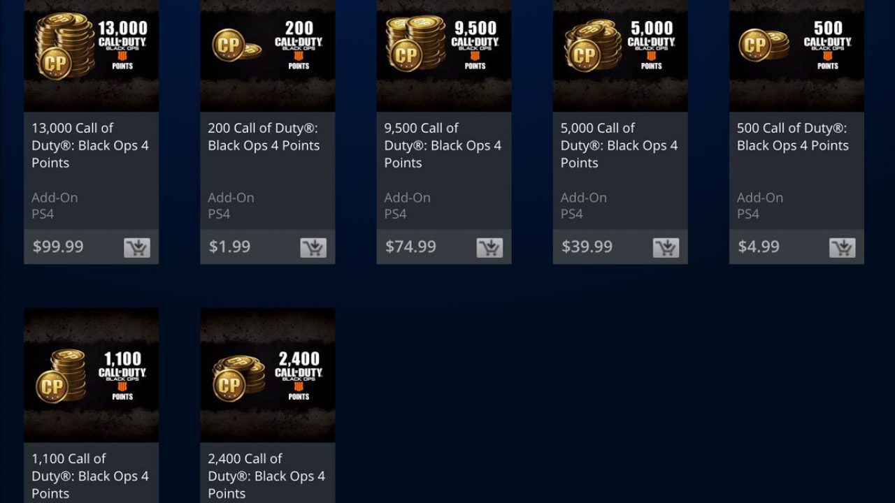 A screenshot of Call of Duty: Black Ops 4 purchaseable point packs.